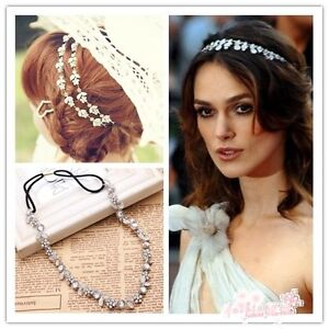 Fashion Women's Hot New Silver Plated Crystal Flower Elastic Hair Band Headband