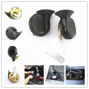 2 Pcs Black Universal 12V Loud Dual-tone Snail Electric Horn 110dB For Car Truck