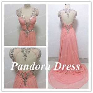 plus size Long Blush Prom Dress/Beaded Backless Bridesmaid Dres