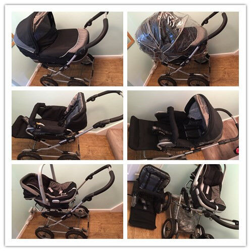 Emmaljunga Classic Black 3 In 1 Pram Pushchair Car Seat Mamas