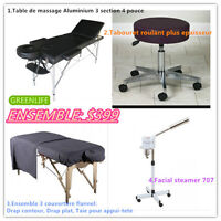 Profait5:Table de massage Aluminium 3 section 4 epai+Steamer 707