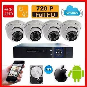 AHD DVR 4 Ch.+ 720P Dome Camera 4 pcs.+ HDD1TB CCTV Security DIY Mays Hill Parramatta Area Preview