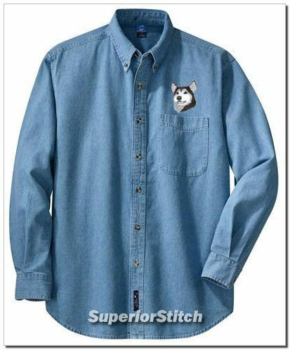 SIBERIAN HUSKY embroidered denim shirt XS-XL