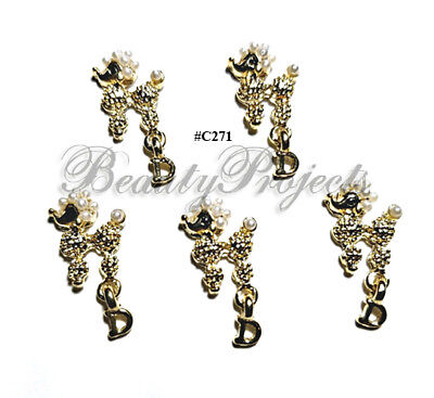 5pc Nail Art Charms 3D Nail Rhinestones Decoration Jewelry DIY Bling - C271 for sale  USA
