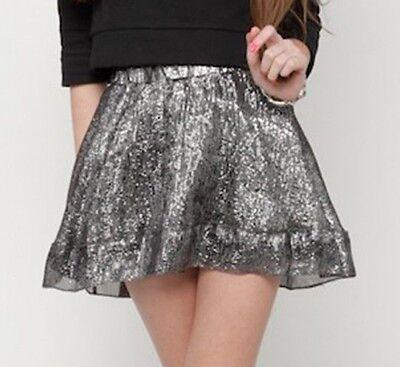 New Isabella Rose Taylor Silver Metallic Ruffle Skirt Size 12