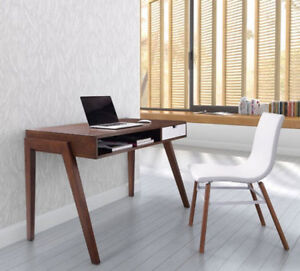 compact mid century modern walnut and white writing desk