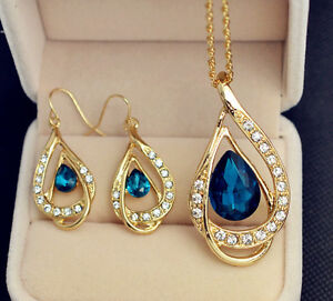 Gold plated crystal drop pendant necklace earring Top quality