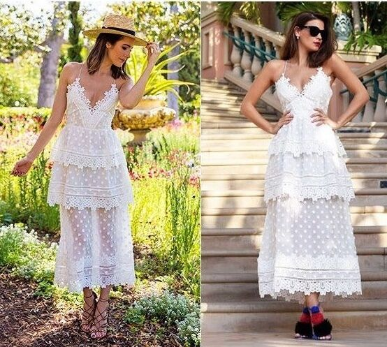 cb116e633d1 NWT Self Portrait Ivy Lace Trim Tiered Layered Midi Dress Open Back White  Choose фото