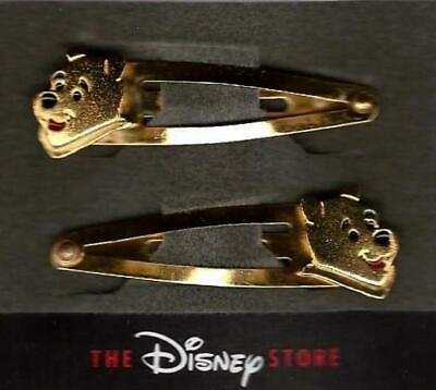 New Disney Store Winnie The Pooh Gold Barrette Hair Clips - NWT - Set of 2