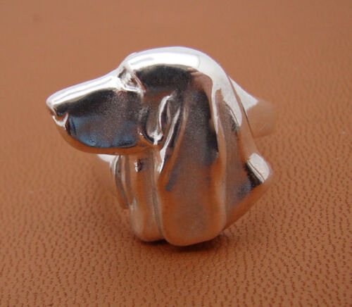 Sterling Silver Basset Hound Head Study Ring