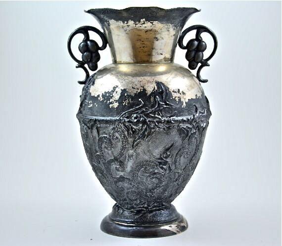 Hand Decorated Silver Plated Antique JLH Primans Vase