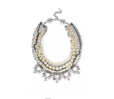 Authentic Starlet Pearl Statement Necklace Silver Milti Strands Crystal Necklace