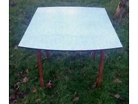 Vintage kitchen table lovely blue colour with marble effect colour retro original 1950's