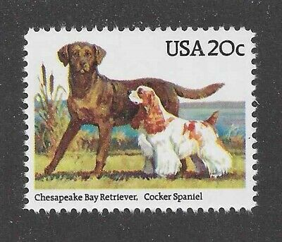 Dog Postage Stamp AMERICAN COCKER SPANIEL CHESAPEAKE BAY RETRIEVER USA 1984 MNH ()