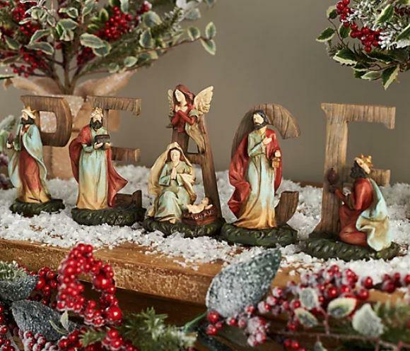 5-Piece Peace Sign with Nativity Scene by Valerie