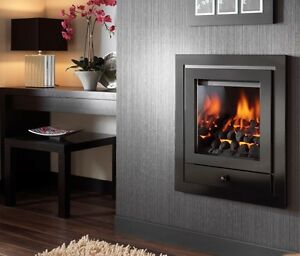 HOLE IN THE WALL INSET GAS FIRE MANUAL BLACK OPEN FRONTED FIRE INSET WALL MOUNT