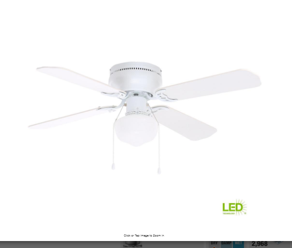 42 in led indoor white ceiling fan