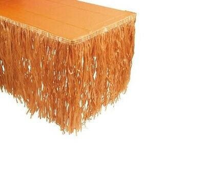 Jungle Table Decorations (9ft Hawaiian Luau natural tan Table Grass Skirt Jungle Party)