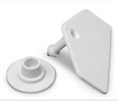 Allflex Global Hog Ear Tags With Buttons White Blank 25ct Pkg