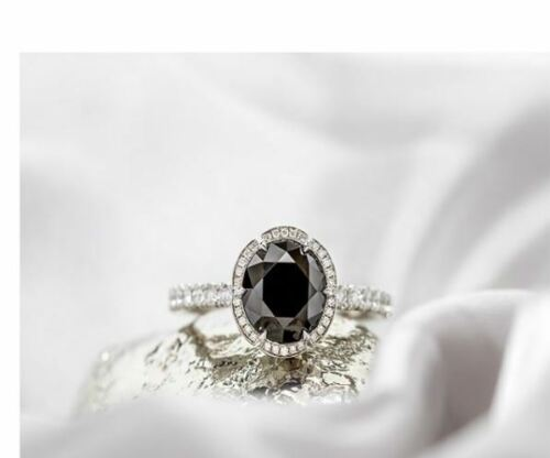 3CT Black Forever Oval Cut Moissanite Halo Engagement Ring 925 Sterling Silver
