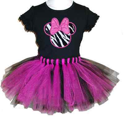 Pink And Black Minnie Mouse Tutu (MINNIE MOUSE TUTU SET - KITTEROO Pink/Black- DISNEY PERSONALIZED! FREE)