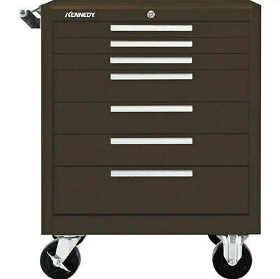 Kennedy 297xb Steel 7 Drawer Brown Wrinkle Heavy Tool Cabinet W Ds1b Fold Shelf