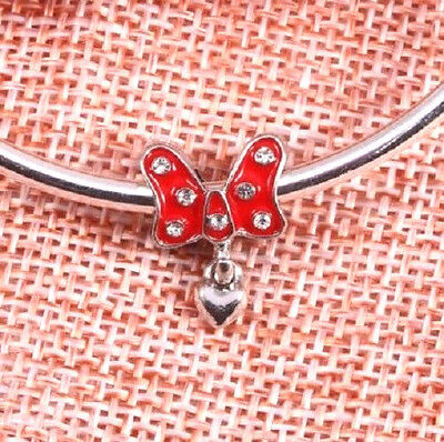 MINNIE MOUSE RED CRYSTAL BOW HEART CHARM BEAD. SILVER PLATED ](Red Minnie Mouse Plates)