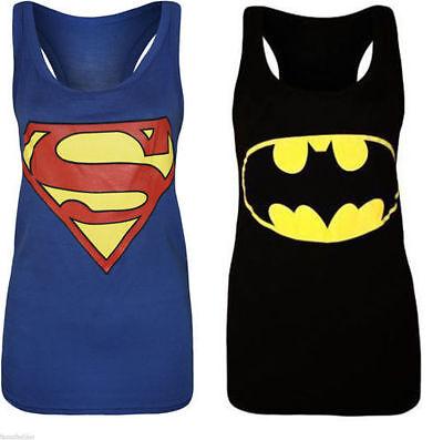 Womens Ladies Plus Size Sleeveless Superman Batman T Tee Shirt Vest Top 8 to 26 ()