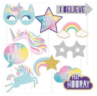 Unicorn Themed 10 Piece Photo Booth Props, Girls Birthday Party Selfies ](Themed Photo Booths)