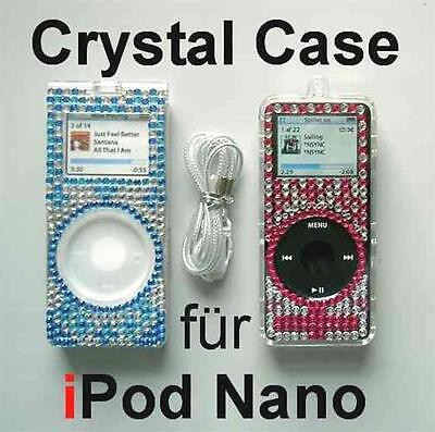 Crystal Case für apple ipod Nano 1 / 1G, edles Skin cover  mit Strass, blau Apple Ipod Nano Skin