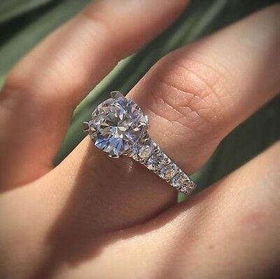 3.25Ct White Moissanite Diamond Engagement Wedding Ring In Solid 14k White Gold