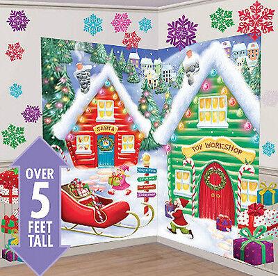 SANTA'S WORKSHOP Scene Setter Christmas party wall decor 32pcs North Pole elves - Christmas Wall Scenes