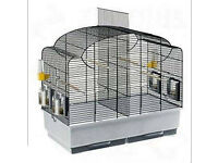 BARLEY USED GOOD SIZE BIRD CAGE WITH DIVIDER