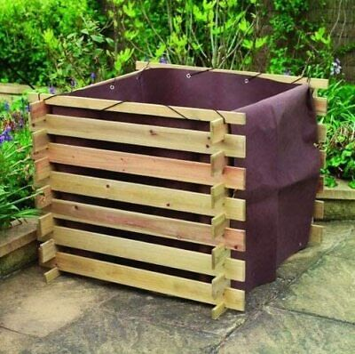 Square Slatted Wooden Compost Bin 0.54m3 AND matching Liner