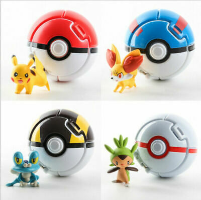 Pokemon GO Pikachu Fennekin Chespin Toy Figures 4 Pcs w/Throw 'N' Pop Poke -