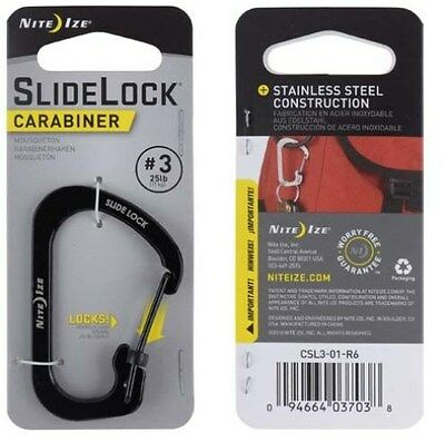 Nite Ize Durable SlideLock Carabiner #3 Black With Lock Gate NIT-CSL3-01-R6 NEW