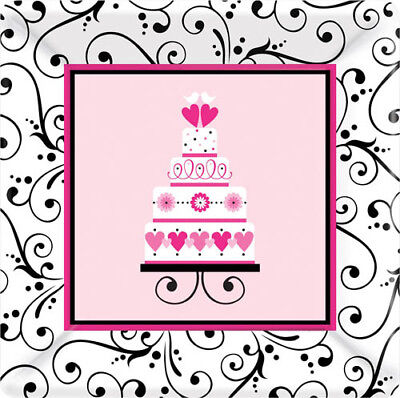 SWEET WEDDING SMALL PAPER PLATES (18) ~ Bridal Shower Party Supplies Dessert  Bridal Shower Party Dessert Paper