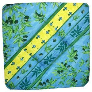 Lot de 4 galettes dessus de chaise proven ale bleu vert ebay - Galette de chaise provencale ...