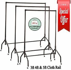 HEAVY DUTY WIDE CLOTHES RAILS GARMENT FOR HOME SHOP STORAGE DISPLAY 4FT & 5FT IN BLACK
