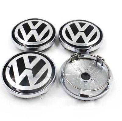 Set 60mm Black Alloy Wheel Center Caps Logo Emblem for VW Golf Passat Polo