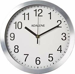 Modern Metal Wall Clock Silent 10 Inch Analog Wall Clocks Battery Operated New