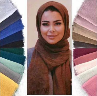 Women Premium Viscose Maxi Crinkle Cloud Hijab Scarf Shawl Islam Muslim Warm  SP