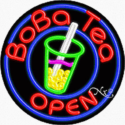 Brand New Boba Tea Open 26x26x3 Round Real Neon Sign Wcustom Options 11128