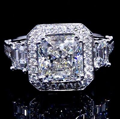 4.35 Ct Radiant Cut Emerald Diamond Halo Pave Platinum Engagement Ring H,VS1 GIA