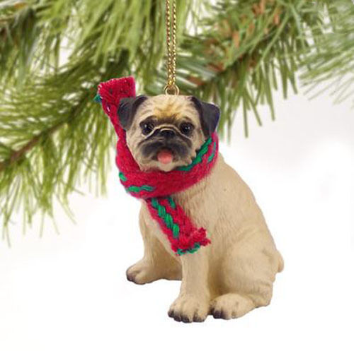 PUG FAWN DOG  CHRISTMAS ORNAMENT HOLIDAY Figurine scarf tan