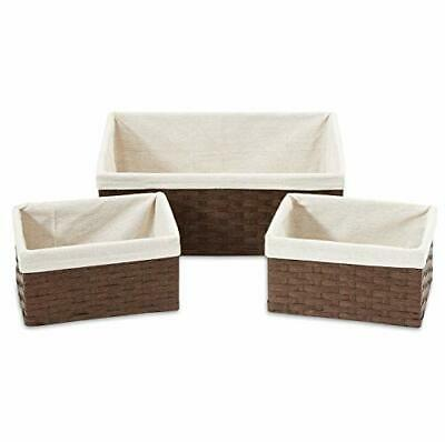 Americanflat Set of 4 Brown Woven Nesting Storage Baskets Removable Linen Liners Baskets