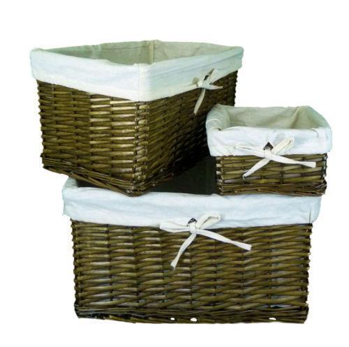 Rectangular Grey Buff Rattan Storage Baskets: Deep Wicker Basket