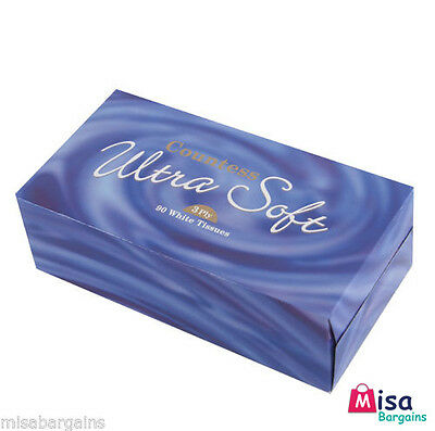 24 x BOXES ULTRA SOFT LUXURIOUS WHITE FACIAL FAMILY TISSUES 90 FIL X 3PLY TISSUE