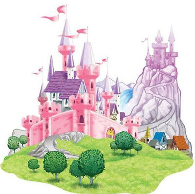 Birthday Princess Decorations (PRINCESS CASTLE scene setter HAPPY BIRTHDAY party wall decoration kit over)