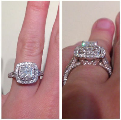 2.5 CARAT 14K WHITE GOLD OVER D/VVS1 DIAMOND AMAZING NEW ENGAGEMENT WEDDING RING